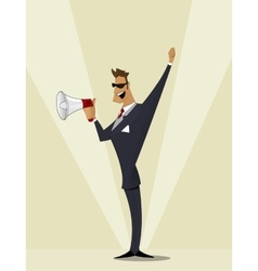 Business man shouting in megaphone vector image
