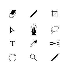 designer tools set icons vector image