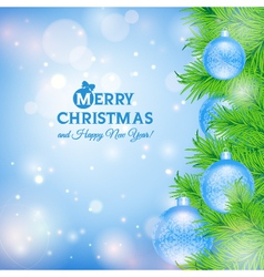 Greeting card with christmas tree and blue balls vector