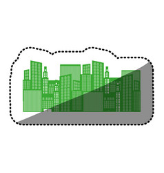 monochrome background sticker with city buildings vector image