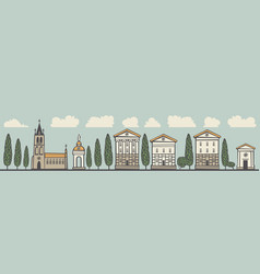seamless horizontal ornament old european city vector image vector image