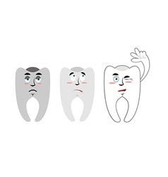 Set of teeth Teeth with emotions Rotten black vector image
