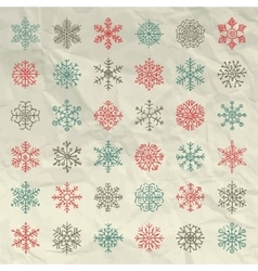 Winter Snow Flakes Doodles on Crumpled vector image vector image