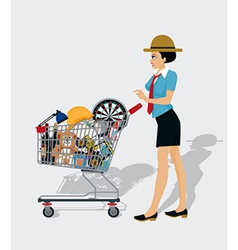 Woman Shopping Cart vector image vector image