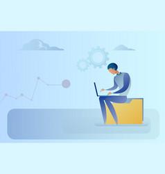 Abstract business man sitting on data folder vector