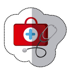 color suitcase health with stethoscope icon vector image vector image