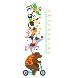 funny circus animals meter wall or height chart vector image vector image