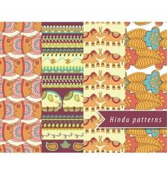 Hindu patterns set vector image vector image