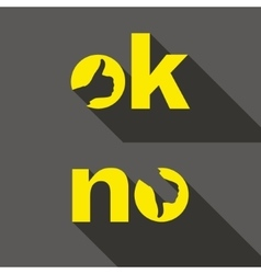 Ok and no symbol signs thumb up and down icons vector