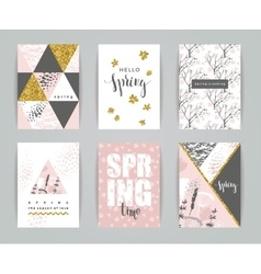 Set of artistic creative spring cards vector