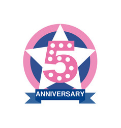 5th anniversary colored logo design happy holiday vector image