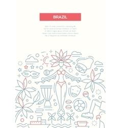 Brazil- line design brochure poster template A4 vector image vector image