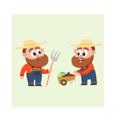 funny farmers harvesting vegetables holding vector image