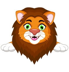 lion cartoon with blank sign vector image