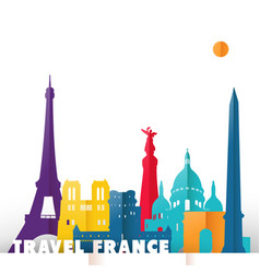 travel france paper cut world monuments vector image