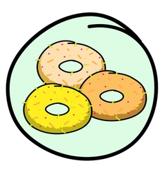 A Donut Assortment on Round Green Background vector image