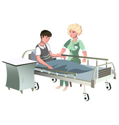 man lying in hospital bed while doctor visits him vector image vector image
