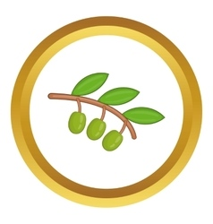 Olive branch with green olives icon vector image vector image
