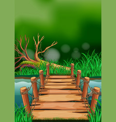 scene with wooden bridge across the river vector image