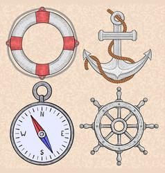 sea symbols lifebuoy anchor compass steering vector image