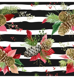 Vintage Poinsettia Flowers Seamless Background vector image vector image