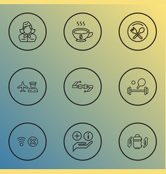 airport icons line style set with coffee sport vector image