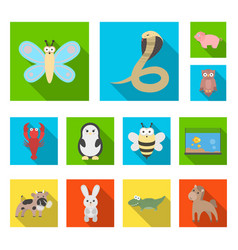an unrealistic animal flat icons in set collection vector image