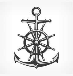 Anchor with steering wheel vector