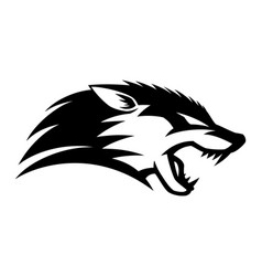angry wolf icon vector image