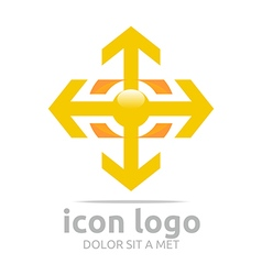 Arrow plus yellow design symbol abstract vector