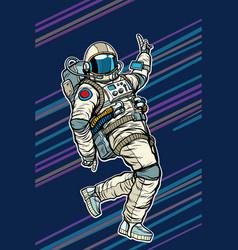 astronaut dancing disco funny vector image