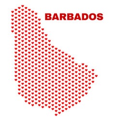 barbados map - mosaic of love hearts vector image