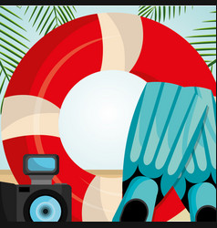 beach landscape with float lifeguard vector image