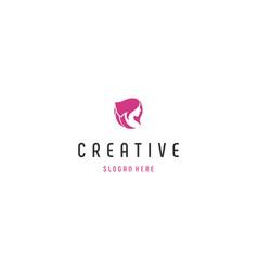Beauty face creative logo desi vector