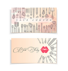 black friday sale makeup coupons and cards vector image