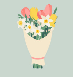 bouquet spring flowers tulips and daffodils vector image