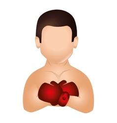 Boxer silhouette avatar icon vector