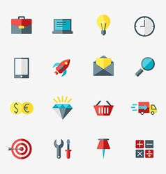 Business and commerce icon set in flat design vector