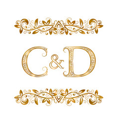 C and d vintage initials logo symbol letters c vector