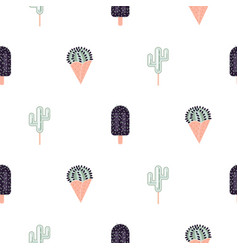cacti ice cream seamless pattern vector image