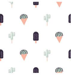 Cacti ice cream seamless pattern vector