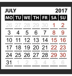 Calendar sheet July 2017 vector