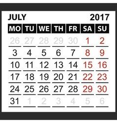 Calendar sheet july 2017 vector