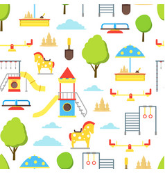 cartoon playground element seamless pattern vector image