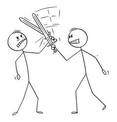 cartoon two men or businessmen fighting vector image