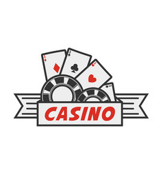 Casino logo with cards and chips vector
