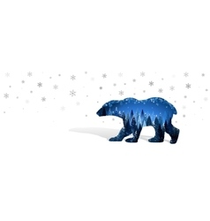 Christmas card with silhouette of bear vector