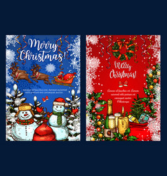 christmas greeting sketch greeting card vector image