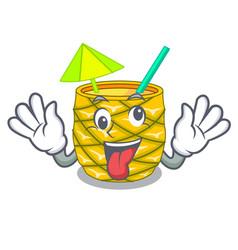 Crazy bottles pineapple juice on cartoon table vector