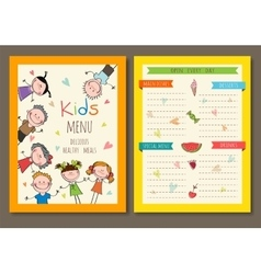 Cute colorful kids meal menu template vector